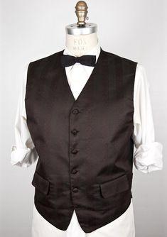 Brocade-like Black Pattern Vest   Mel Howard tuxedo tux waist coat   dress  jacquard f720b5dbfcc8e