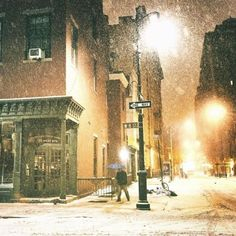 Let's get lost under the snow + streetlights. . New York City . ...
