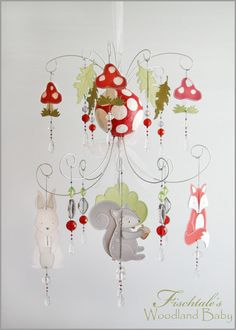 Woodland Baby Chandelier Mobile Baby by fischtaledesigns on Etsy, $155.00