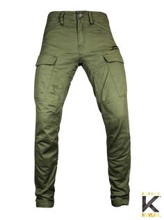 """JOHN DOE Pants """"Stroker"""" olive, slim fit, fully lined with kevlar and with armor pockets for knee and hip."""