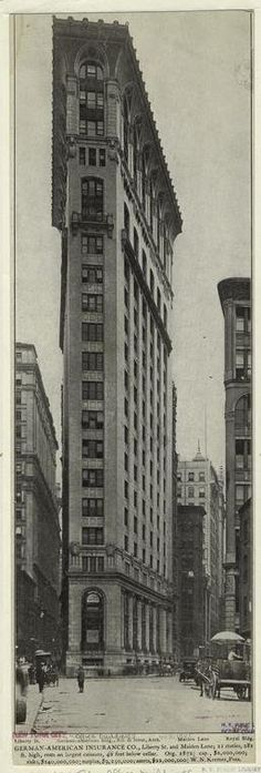 The German American Insurance Building was built in 1908 on a triangular lot in the New York Financial District. It was demolished in 1971.