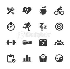 Fitness Icons | Mono Series Royalty Free Stock Vector Art Illustration