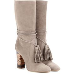 Burberry Winningham Suede Boots (32,615 MXN) ❤ liked on Polyvore featuring shoes, boots, ankle shoes, grey, grey suede boots, suede leather shoes, grey shoes, burberry boots and burberry shoes
