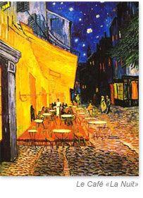 Le Café la Nuit par Van Gogh, Place du Forum, Arles  http://www.arlestourisme.com/patrimoine_mondial.html
