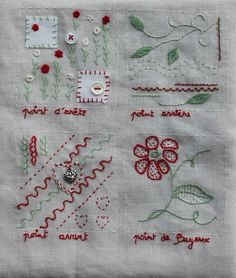 Mon cahier de broderie Embroidery Sampler, Hand Embroidery Stitches, Embroidery Patterns, Stitch Patterns, Sewing Case, Cross Stitch Letters, Stitch Book, Fabric Journals, Sewing Material