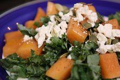 Cantaloupe and Feta Salad with Kale and Pumpkin Seeds