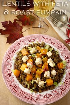 Nutty lentils, caramelised pumpkin and spicy feta cheese combine to make this a simple but deeply satisfying winter dish. Pumpkin Chilli, Roast Pumpkin, Pumpkin Casserole, Winter Dishes, Veg Dishes, Star Food, Clean Diet, Buzzfeed Food, Food Is Fuel