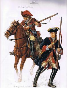"""Bagot's Hussar (also known as the Scotch Hussars) and a Trooper from the Prince's Lifeguards (""""Bonnie Prince Charles"""" or """"The Young Pretender"""" - Charles Edward Stuart) during the Jacobite Rising , 1745-1746."""