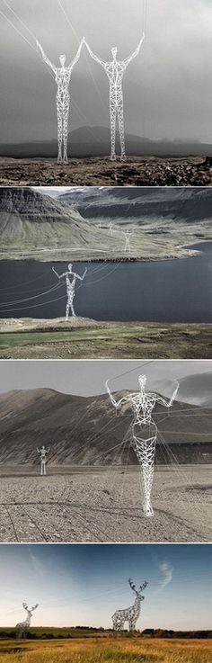 If I wasn't already totally smitten with Iceland, looking at those awesome human-like and reindeer-like electric poles would surely seal the deal! This cool company flawlessly transformed regular and boring electrical pylons into creative parts of the Icelandic landscape. Even an Italian newspaper called Iceland the land of giants, that is a poem for the eyes! Crikey, road trips would be so much more fun if we had those dudes standing around, don't you think