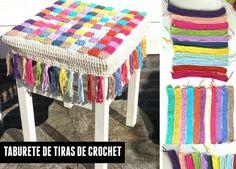 Patrones Crochet: Funda taburete con tiras de crochet entrelazadas