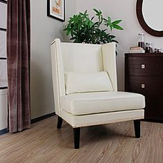 @Overstock - Bring sophistication and class to your living room with the Malia cool white leather wingback chair. This furniture piece is constructed of wood and dyed top grain aniline leather.http://www.overstock.com/Home-Garden/Malia-Cool-White-Leather-Wingback-Chair/4470826/product.html?CID=214117 $224.99