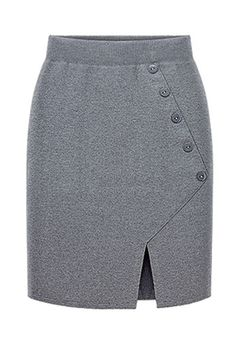 Button Accent Front Slit Knitted Pencil Skirt #Button #Skirt #maykool
