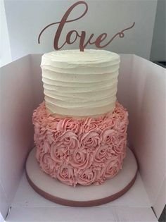 A 2 tier buttercream wedding cake in cream, pink and rose gold. I forgot to take a picture of it set up at the venue. A 2 tier buttercream wedding cake in cream, pink and rose gold. I forgot to take a picture of it set up at the venue. Elegant Birthday Cakes, Sweet 16 Birthday Cake, 18th Birthday Cake, Cakes For Grandmas Birthday, Teen Birthday Cakes, 40th Birthday Cake For Women, 30th Cake, Cream Wedding Cakes, Buttercream Wedding Cake