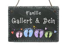 Schiefer Türschild Namensschild Fußabdruck Familie von byAnnoDomini via dawanda.com
