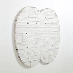 "Hiroyuki Hamada #32 1998-2001 38"" x 36"" x 1.75"" Materials: burlap, enamel, oil, plaster, tar and wax"