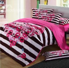New Arrival Cotton Reactive Print Stripes Red Lip Love Heart 4 Piece Bedding Sets in Promotion by Bedroom Comforter Sets, Girls Bedding Sets, Cheap Bedding Sets, Cotton Bedding Sets, Pink Bedding, Pink Bed Sheets, Cheap Bed Sheets, Leopard Bedroom, Embroidered Bedding