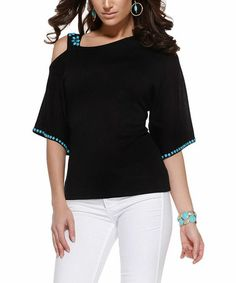 Look what I found on #zulily! Black & Turquoise Stone Cutout Top by Belldini #zulilyfinds