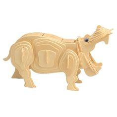 Woodcraft Drevené 3D puzzle Hroch M019 3d Puzzles, Wood Crafts, Lion Sculpture, Statue, Animals, Art, Art Background, Animales, Animaux