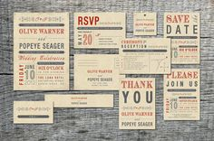 Vintage font matching wedding invitations, save the date, place markers & thank you cards