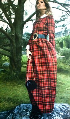 Jill Kennington in a long tartan dress, 1967
