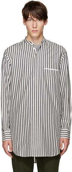 Long sleeve cotton poplin shirt striped in grey and white. Band collar…