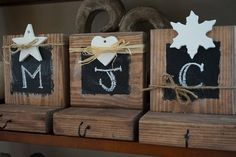Cute wood and chalkboard stocking holders!