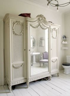 Wonderful Shabby Chic armoire in white with fine French details French Furniture, Painted Furniture, Home Furniture, Furniture Design, French Armoire, White Armoire, Antique Armoire, Antique Wardrobe, Tv Armoire