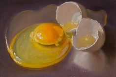 Cracked Egg Original Daily Painting Realism Small Art Still Life Food 4x6 Y Wang | eBay