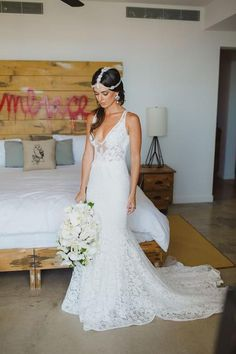 Deep V Neck Wedding Dresses,Sweep Train Appliques Cheap Wedding Gown,SW82