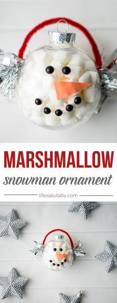 This Marshmallow Snowman Ornament is SO CUTE and easy to make! The kids will love making this!