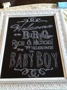 Baby shower chalkboard welcome sign