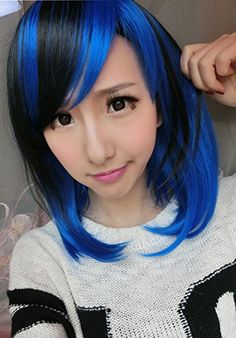 Aimer 36cm Short Heat Resistant Black Mixed with Blue Color Spiral Cosplay Wigs for Women Girls  //Price: $ & FREE Shipping //     #hair #curles #style #haircare #shampoo #makeup #elixir