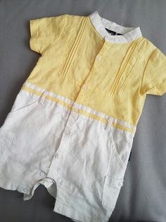 Yellow Romper  📦Center point Center Point, Baby Boy, Rompers, Yellow, Boys, Baby Boys, Romper Clothing, Romper Suit, Onesies