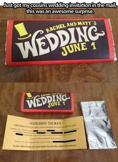 Cute wedding invitation idea!  Great favor idea, personalized with golden tickets winning the prize of your choosing