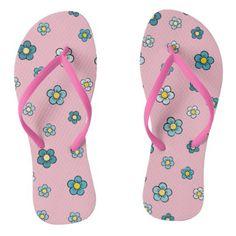 10e53944afed  Girly Pink With Blue Flower Pattern Flip Flops -  cute  pink  sweet  custom