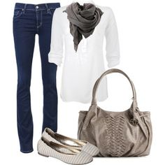 I like this combo of everything but the bag- I tend towards more natural looking bags