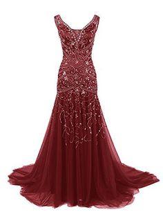 Dressystar V Neck Beaded Mermaid Wedding Prom Dress Evening Ball Gown Size12 Burgundy Dressystar http://www.amazon.com/dp/B019GTDF1G/ref=cm_sw_r_pi_dp_PqmIwb1M789DT