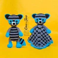 Rascal the Raccoon Lovey and Amigurumi Crochet Patterns by One and Two Company
