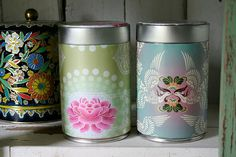 decoupaged coffee canisters