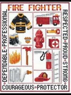 Cross stitch firefighter