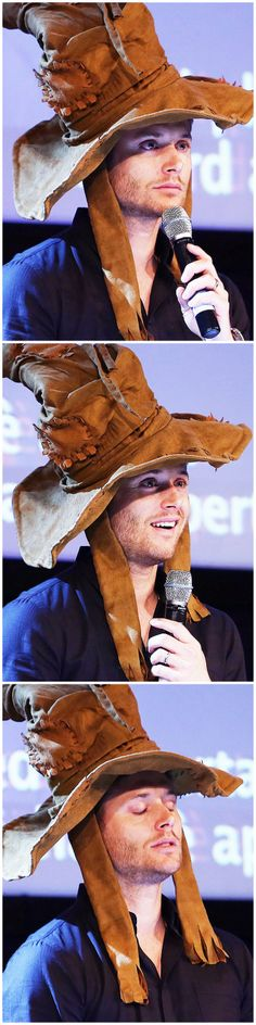 Is . . . Is that Jensen is a Sorting Hat? How does he manage to look sexy in a Sorting Hat? What is this magic?