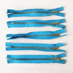 Vintage Turquoise 1950s Zipper / Metal Zippers / NOS