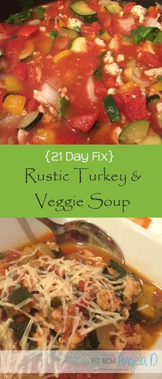 21 Day Fix Rustic Turkey & Veggie Soup | Healthy Dinner | Clean Eats | Healthy Soup | This is one of my husbands favorite soups - and he used to hate turkey!   | www.fitmomangelad.com