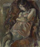 Jules Pascin, 1885 - 1930, Girl Seated, 1922, Oil on canvas #CBartistseye