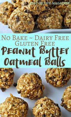 No Bake Dairy Free, Gluten Free Peanut butter Oatmeal Balls