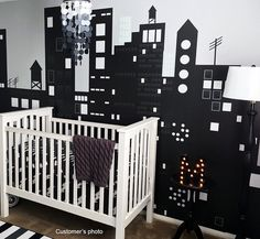 """Check out Removable City Wall Stickers Kids Wall Murals - Dark City (90""""H 130""""W) - Children Bedroom Wall Decors Anita Roll's art work PRT0035 on popdecors"""