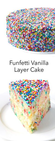 This Funfetti Vanilla Layer Cake is the PERFECT birthday cake! Everyone loves it! Recipe from sweetestmenu.com #cake #sprinkles #birthday