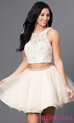 White and Nude Two-Piece Blush Homecoming Dress at PromGirl.com
