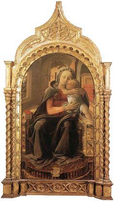 Madonna di Tarquinia. 1437. Palazzo Barberini.commissionato da Giovanni Vitelleschi. Nel 1437 tornò  a Tarquinia. Dalla chiesa di Santa Maria Valverde a Tarquinia. I dettagli denunciano l'influenza  fiamminga