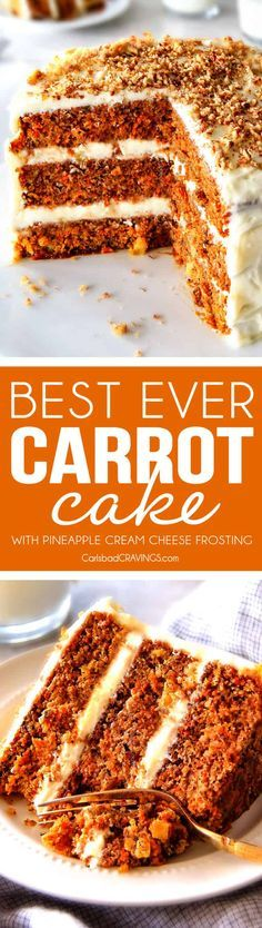 Layered Carrot Cake with Pineapple Cream Cheese Frosting - This is the BEST Carrot Cake Recipe, I will never make another recipe again! ! Super moist without being oily, spiced perfectly, and the Pineapple Cream Cheese Frosting is incredible! Brought this to a party and everyone was BEGGING me for the recipe! via @carlsbadcraving